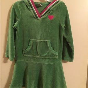 Green velvet dress with hoodie